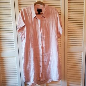 Tahari Blush Pink Linen Dress Shirt